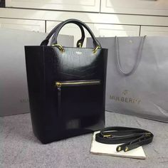 252ca94b65d6 2016 A W Mulberry Maple Tote Bag Black Polished Embossed Croc Leather -   Mulberry  Outlet UK Team