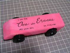 """I am the One who erases all sins."" What  a awesome Bible verse!I LOVE this idea!!!! What a cool AWANA Grand Prix car!How creative! It looks SO real!!!!!!!"
