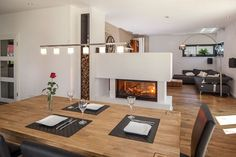 Dining area and fireplace . - Fitness GYM - Dining area and fireplace … -… – - Home Fireplace, Fireplace Design, Home Living Room, Living Spaces, Sweet Home, Minimalist Interior, Interior Design Inspiration, Design Ideas, Dining Area