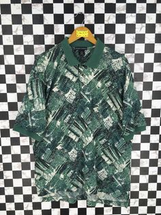 6262804711 Vintage 90's NIKE GOLF Polo Shirt Mens Large Nike Swoosh Abstract Pop Art  Painter Artwork Green Nike Hip Hop Streetwear Polos Shirt Size L