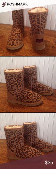 Ukala short leopard print boots size 6 Ukala short leopard print boots size 6, wool lined suede uppers, some wear as seen in pictures otherwise in great condition Ukala Shoes