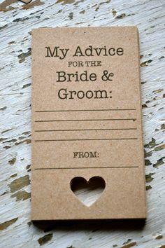 Guestbook alternative https://www.etsy.com/listing/171083661/rustic-wedding-advice-cards