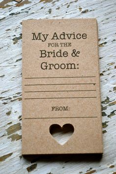 Guestbook alternative https://www.etsy.com/listing/171083661/rustic-wedding-advice-cards