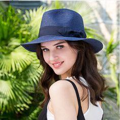 Ladies panama hat for women bow straw sun hats for beach wear