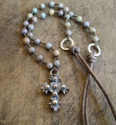 "Rustic, Vintage Silver Cross Necklace, Hand Knotted Bohemian Jewelry ""Boho Chic"""