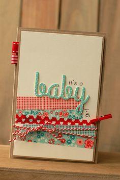Handmade with Saar and Pien: Washi Tape - Mooie kleurencombinatie van het masking tape op deze babykaart. Ook de lintjes linksboven vind ik een leuk detail.
