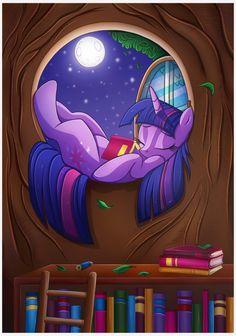 Reading Under the Moonlight by Vocalmaker.deviantart.com on @DeviantArt
