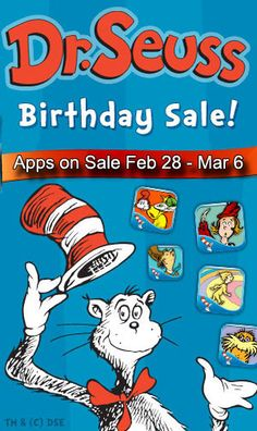 In honor of Dr. Seuss's birthday - over 60 apps reduced their price - OFF! Educational Apps For Kids, Dr Seuss Birthday, Best Apps, Games For Kids, Itunes, Google Play, Games For Children