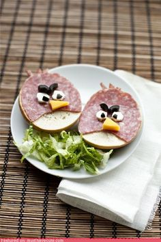 Angry Bird sandwiches! Too cute....I wonder how I can sneak them in their lunches....they would be the talk of the lunch table!