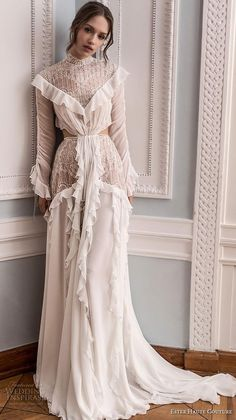 ester haute couture 2019 bridal long sleeves high neck full embellishment vintage modified a line wedding dress keyhole back chapel train mv Ester Haute Couture 2019 Wedding Dresses Wedding Inspirasi Wedding Dresses 2018, Lace Wedding Dress, Lace Dress, Prom Dresses, Dress Long, Tulle Dress, Dance Dresses, Couture Dresses Gowns, Unusual Wedding Dresses
