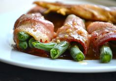 Bacon Wrapped Green Beans with Brown Sugar Glaze