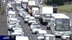 Slow moving traffic on a Johannesburg highway Johannesburg City, South Africa, Gold, Yellow