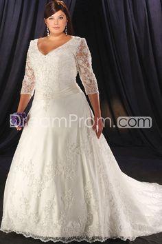 Fantastic A-Line/Princess V-Neck  3/4-Length Sleeves Cathedral Appliques Plus Size Wedding Dresses (3H0009)