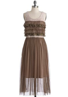 An rockin lineup of your favorite folk bands calls for an outfit of equal enchantment, and youve found one in this taupe tiered dress! Cute Dresses For Party, Fabulous Dresses, Unique Dresses, Sexy Dresses, Dress Outfits, Fashion Dresses, Girls Dresses, 30th Birthday Dresses, Birthday Girl Dress