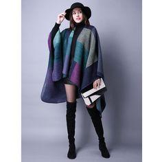 New Brand Women's Winter Poncho Vintage Blanket Women's Lady Knit Shawl Cape Cashmere Scarf Poncho Z-2241