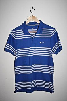 Nike Men's Design Modern Fit Polo Shirt Sport Tennis 100% Cotton Blue Stripped S