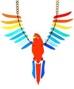 Tatty Devine Large Parakeet Rainbow Necklace – Trouva – Jewelry – Home crafts Weird Jewelry, Jewelry Art, Jewelry Necklaces, Jewelry Mirror, Jewlery, Plastic Fou, Resin Necklace, Kids Necklace, Tatty Devine