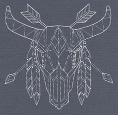 Geometric Skull w/horns and feathers - Embroidery Design
