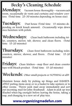 "15 Minutes a day Cleaning Schedule  Part of the series ""How to Have a {Fake} Immaculate House by  www.organizingmadefun.com"