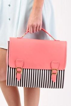 Pink leather, black and white stripes. ~maj