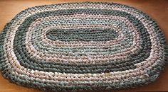 Olive green Khaki Handmade Oval rag rug.  Bath kitchen sink