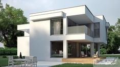 Two storey house in modern style with usable area House with a large garage. Minimum size of a plot needed for building a house is m. Gas Boiler, Balcony Doors, Two Storey House, Interior Walls, Plans, Ground Floor, Home Projects, Facade, Building A House