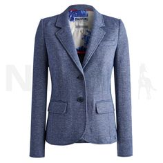 Joules Ladies Henford Jersey Tweed Blazer Chambray Blue - Joules Ladies Henford Jersey Blazer in Chambray Blue. The Joules Ladies Henford Jersey Blazer is a smart casual jacket perfect for pairing with your jeans whilst out shopping. The Henford Blazer features a contrast floral lining, elbow patches, two front pockets and a flatteringly feminine fit due to its impeccable tailoring. Made from 95% Cotton & 5% Polyamide.