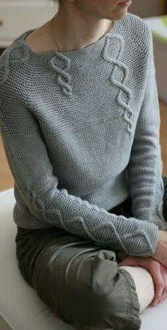 Hand Knit Women's boat neck sweater hand knitted women's sweater cardigan pullover women's clothing handmade turtleneck crewneck v-neck Knitting Patterns, Crochet Patterns, Afghan Patterns, Cable Sweater, Grey Sweater, Sweater Cardigan, How To Purl Knit, Pulls, Knitting Projects