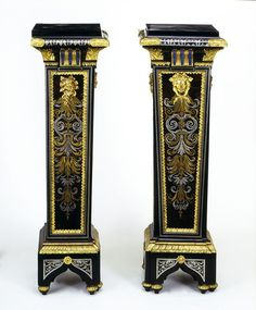 Pedestal, Paris, 1693-1710, André-Charles Boulle (1642 - died 1732). Materials and Techniques:Carcase of pine; veneered with tortoiseshell, horn with blue pigment behind, engraved brass and pewter; gilt bronze mounts. V&A