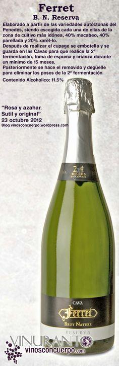Un cava clásico. Increible relacion calidad/precio. Consíguelo en nuestra tienda desde 9,65€ http://www.vinuranto.com/tienda/es/cavas-y-espumosos/60-ferret-reserva-brut-nature.html