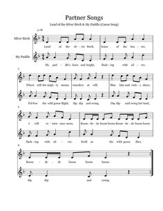 Partner Songs I love partner songs, and these two are my very favorite. Land of the Silver Birch and My Paddle . I& put the score f. Choir Songs, Songs To Sing, Middle School Choir, Elementary Choir, Music Sing, Music Classroom, Primary Classroom, Music Activities, Music For Kids