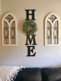 Diy wall decor 128634133093907875 - Farmhouse inspired HOME letters with boxwood wreath – Wall Decor Inspiration Source by GraceMonroeHome Farmhouse Wall Decor, Farmhouse Style Decorating, Rustic Decor, Modern Farmhouse, Farmhouse Ideas, Farmhouse Design, Farmhouse Front, Cottage Farmhouse, Antique Farmhouse
