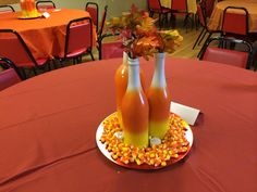 Bridal shower centerpieces with fall theme.