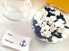 nautical bridal shower ideas | guess how many game with blue & white candy in mini fishbowls