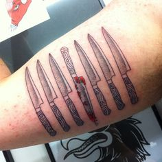 Knife Collection Tattoo http://www.pairodicetattoos.com/knife-collection-tattoo/