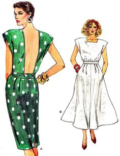 1980s Dress Pattern Vogue 9605 Backless Cap Sleeve Day or Evening Dress Womens Vintage Sewing Pattern Bust 31 1/2 - 32 1/2 - 34 Uncut