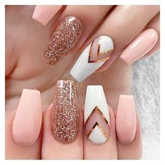 Gold glitter nails-See this and similar nail treatments - Baby pink rose gold glitter nails