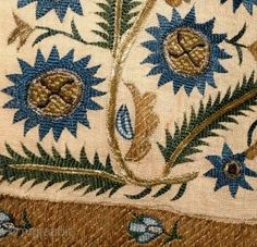 Hand embroidered with wonderful composition and all natural colors. Size: 232 cm x - 91 x 11 inches. All Kinds Of Everything, Natural Colors, 19th Century, Bohemian Rug, Composition, Ottoman, Projects To Try, Towel, Embroidery