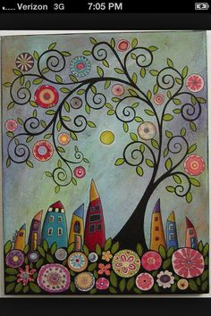 Swirl tree abstract houses painting by karla gerard - Beautiful curly whimsical art. Art Fantaisiste, Art Populaire, Art Et Illustration, Whimsical Art, Art Plastique, Tree Art, Tree Collage, Doodle Art, Art Lessons