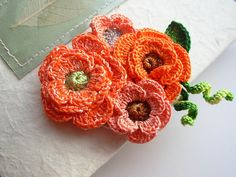 Crochet orange flower Brooch Pin Cotton Floral Freeform 3d flowers www.etsy.com