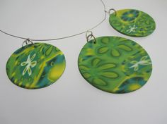 Polymer Clay Necklace Blended Flowers in by ClareBashamDesigns, £25.00