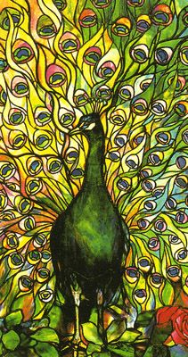 Gorgeous Peacock Stained Glass Art Window by Louis Comfort Tiffany