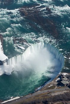 Aerial shot of The Horseshoe Falls , Ontario Canada, one of three waterfalls , collective called Niagara Falls