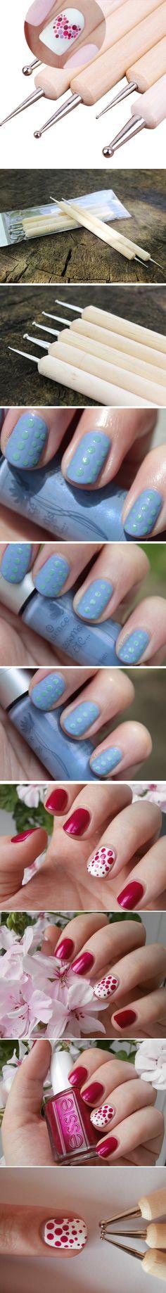 5Pcs 2 Way Wooden Dotting Pen Marbleizing Tool Nail Art Dot Dotting Tools #14198 - nail art, nail designs, nail art ideas, nail art diy, simple nail art, simple nail designs, cool nail art, cool nail designs, arte de uñas, diseño de uñas, дизайн ногтей, м