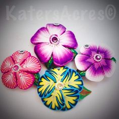 Polymer Clay Millefiori Caned Flower Pendants by KatersAcres