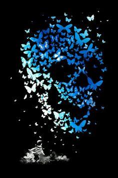 butterfly #skull art print.