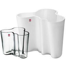 iittala Alvar Aalto, vase set 160 + 95 mm, white & clear
