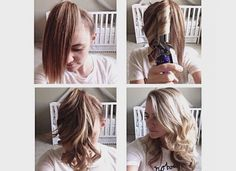 QUICK CURLS To curl your hair in a jiffy, put it in a very high pony. Then split the pony in 3 to 5 sections, depending on how thick your hair is. Curl each section, remove the pony, and shake. You will be shocked at how simple it is.