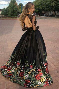 two piece black long prom dresses, princess flower printed graduation party gowns, formal long sleeves senior prom dresses Senior Prom Dresses, Floral Prom Dresses, Dresses Elegant, Prom Dresses Two Piece, Cute Prom Dresses, Prom Dresses Long With Sleeves, Black Evening Dresses, Black Wedding Dresses, Long Dresses