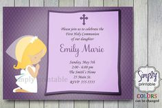 Purple First Communion Invitation by simplyprintable on Etsy, $12.00